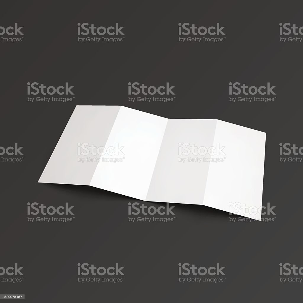 Zigzag leaflet folded on four parts. vector art illustration