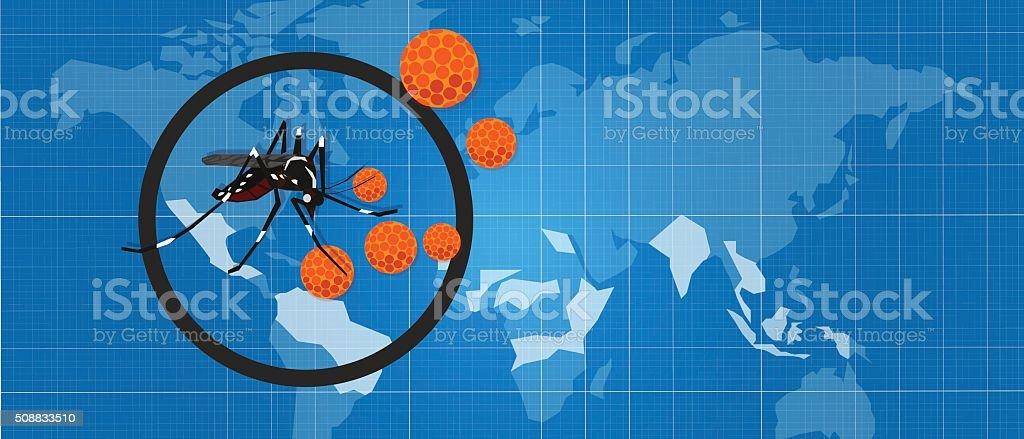 zika zica virus masquito aedes aegypti spread pandemic aotubreak vector art illustration