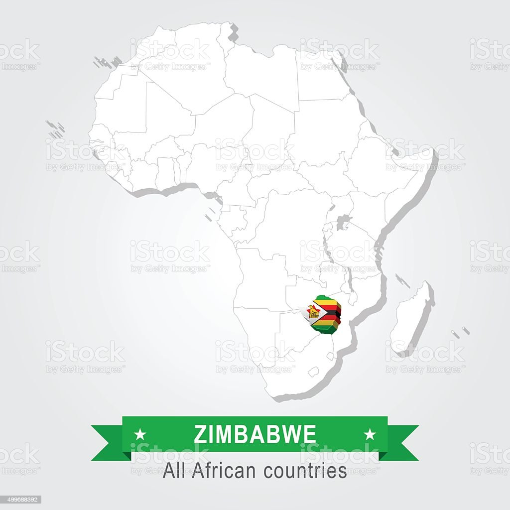 Zimbabwe. All the countries of Africa. Flag version. vector art illustration
