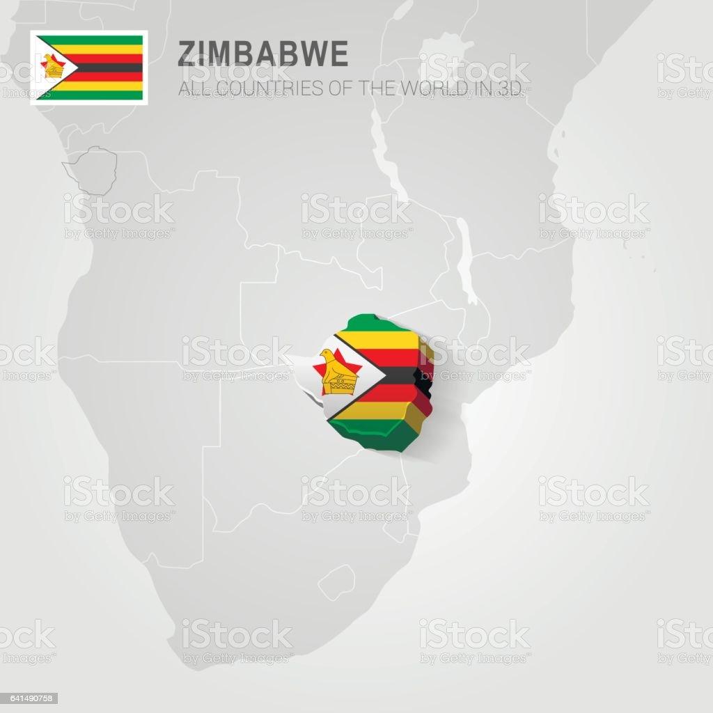 Zimbabwe drawn on gray map vector art illustration