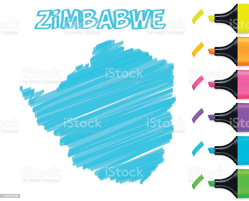 Zimbabwe map hand drawn on white background, blue highlighter vector art illustration