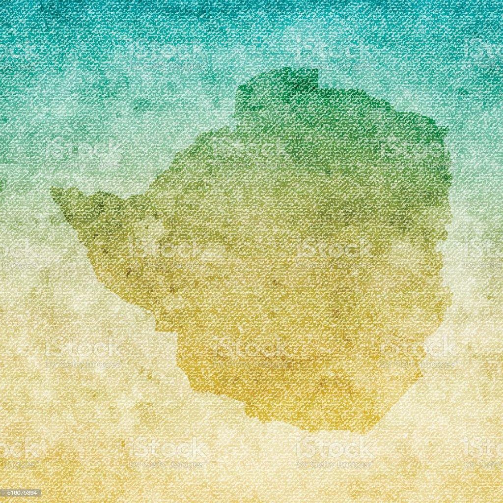 Zimbabwe Map on grunge Canvas Background vector art illustration
