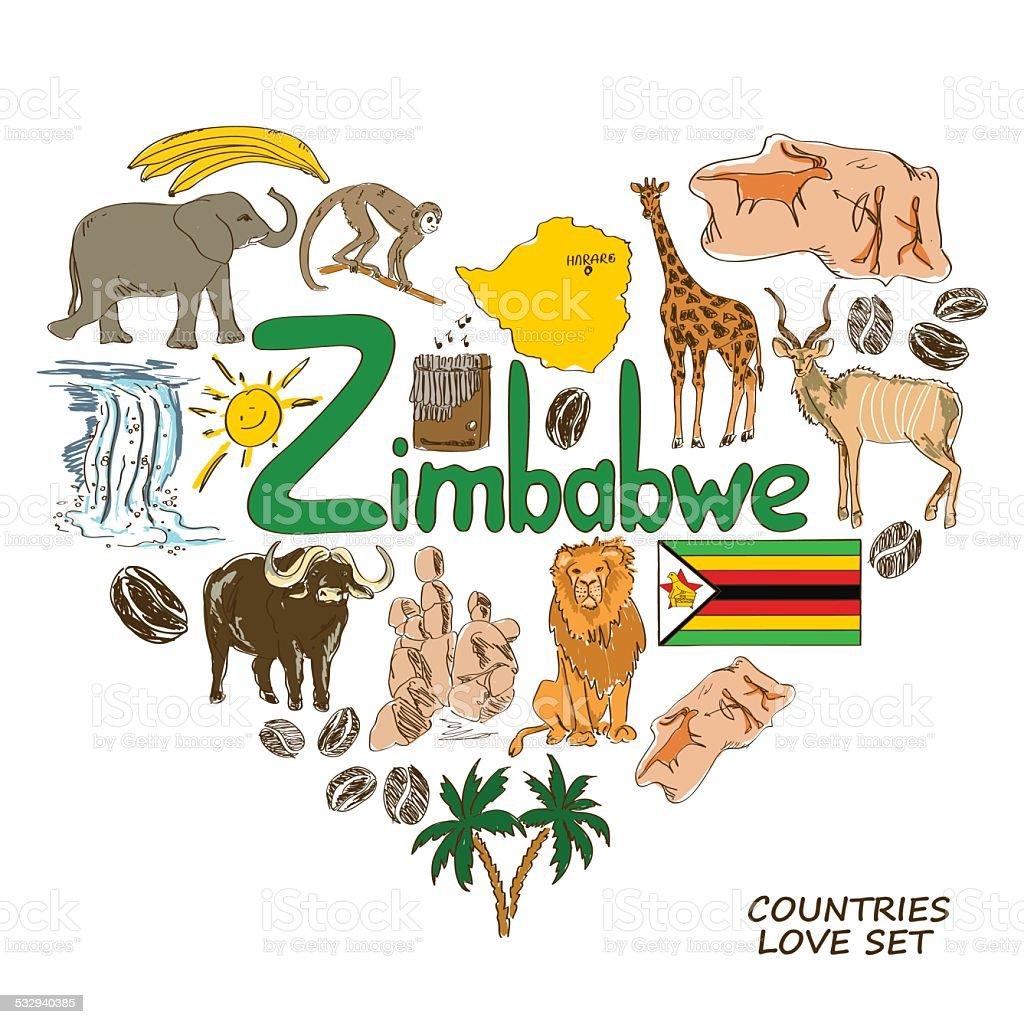 Zimbabwe symbols in heart shape concept vector art illustration