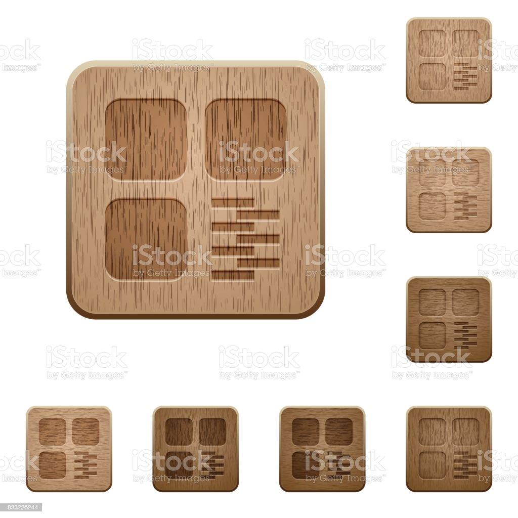 Zip component wooden buttons vector art illustration