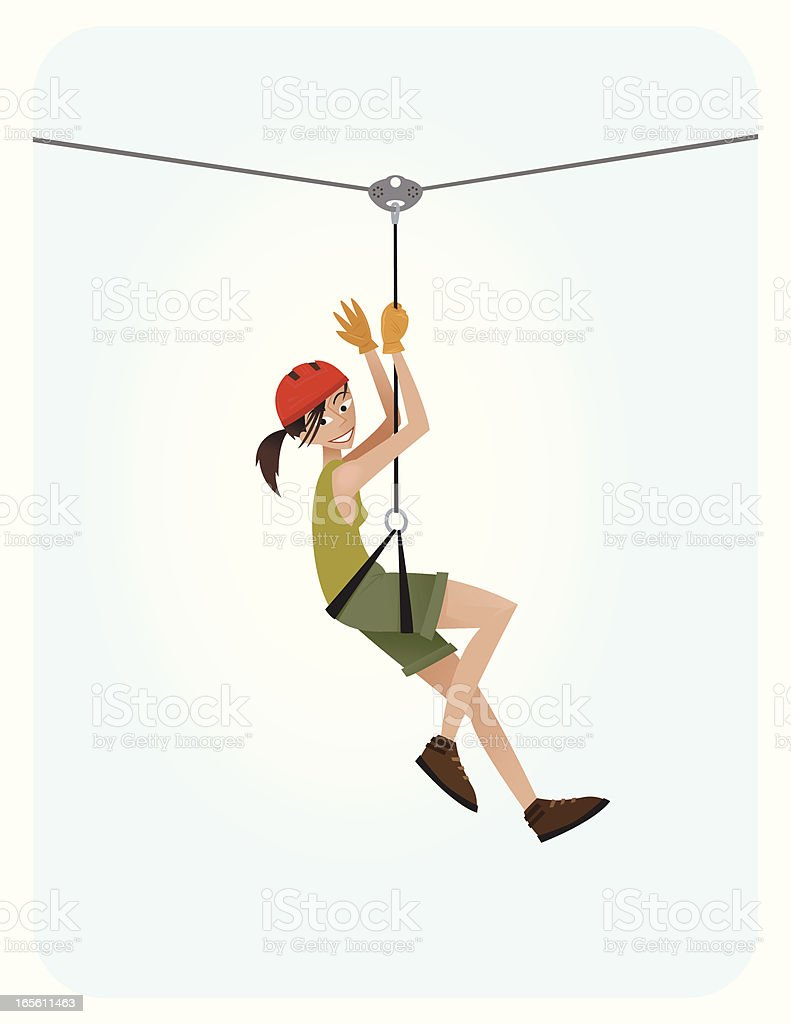 Zip Line Girl vector art illustration