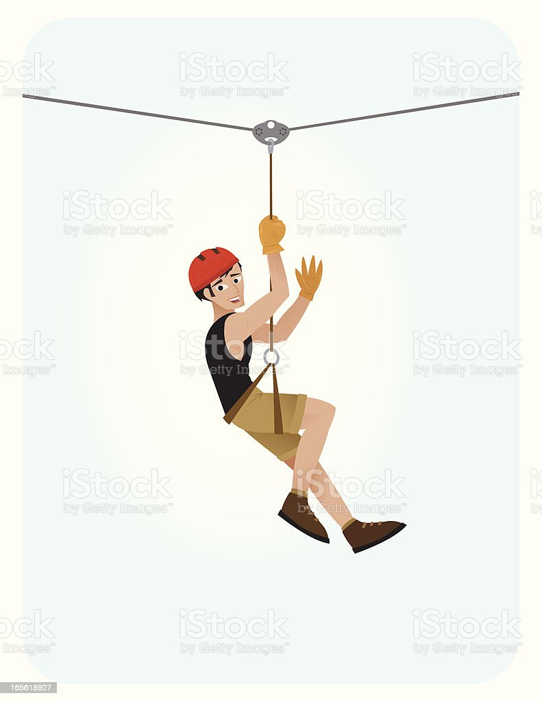 Zip Line Guy vector art illustration