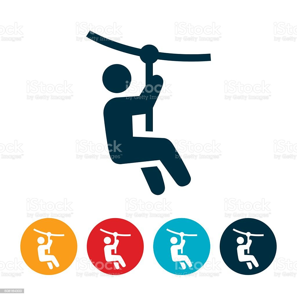 Zip Line Icon vector art illustration