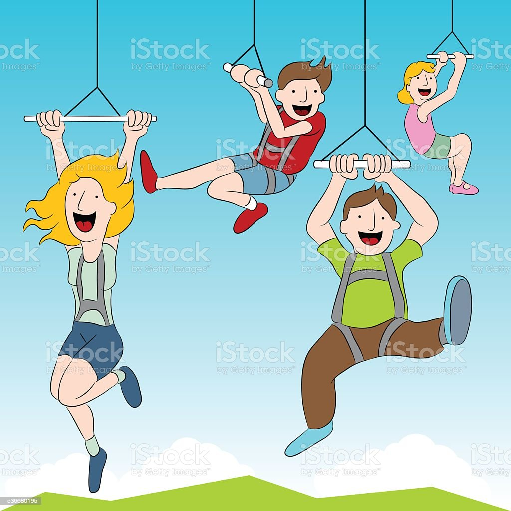 Zip Line Riders vector art illustration