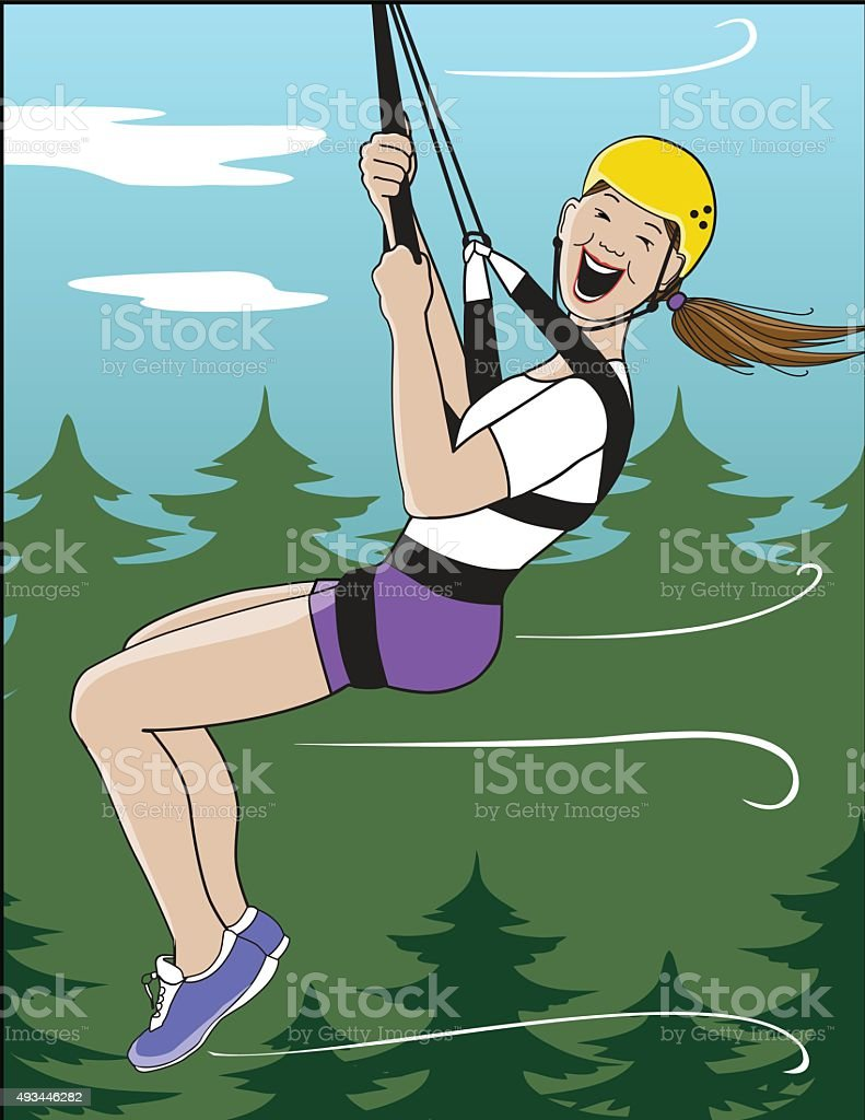 Zip Line vector art illustration