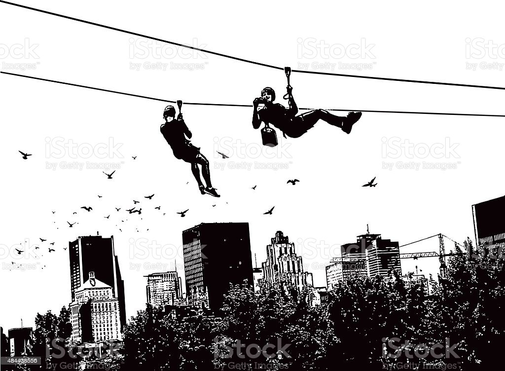 Zip Lining Above The City With Flock of Birds vector art illustration