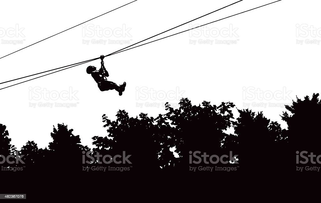 Zip Lining Adventure Above the Forest vector art illustration