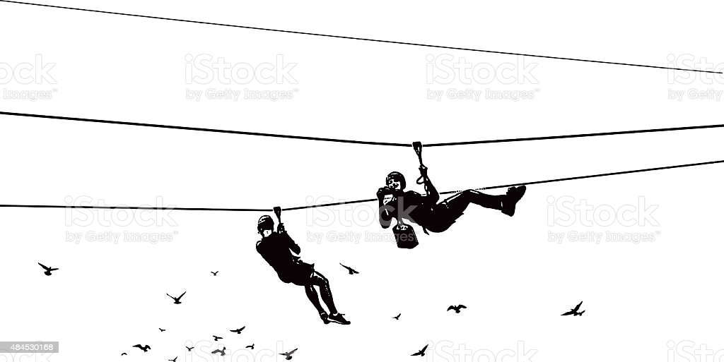 Zip Lining Adventure With Camera and Flock of Birds vector art illustration