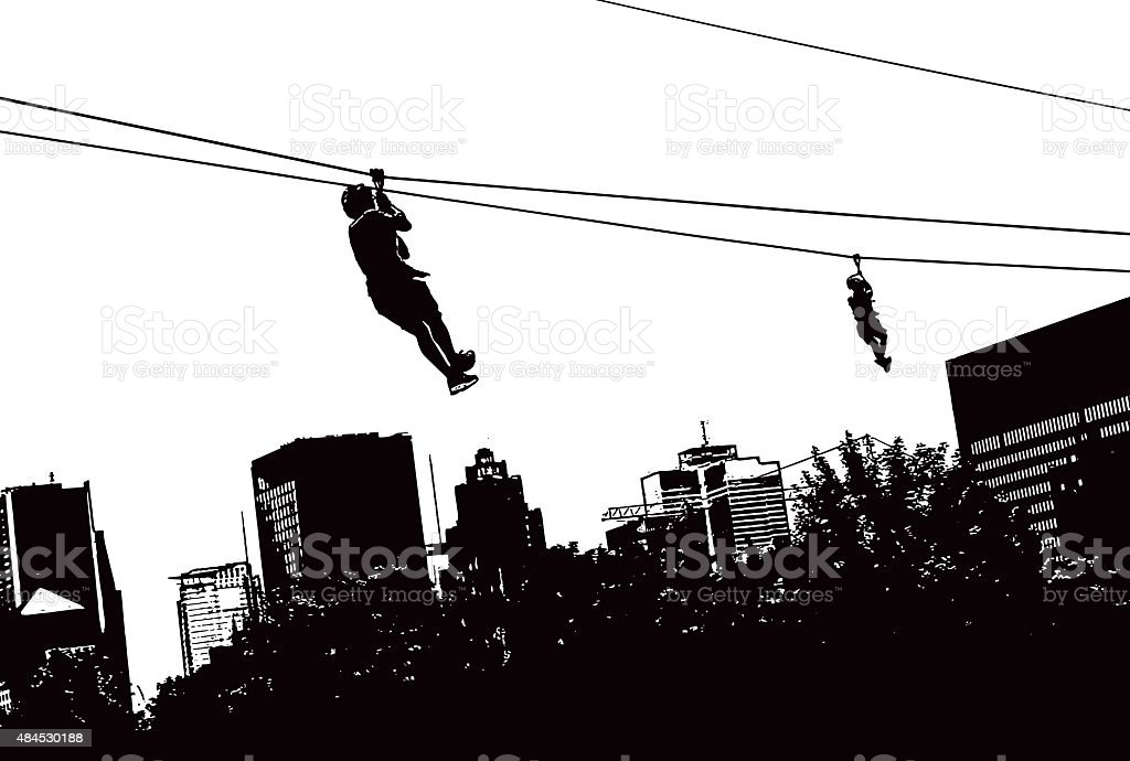 Zip Lining High Above The City vector art illustration