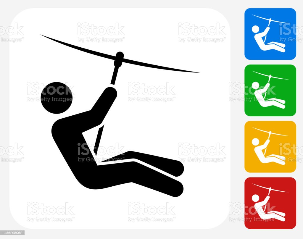 Zip Lining Icon Flat Graphic Design vector art illustration