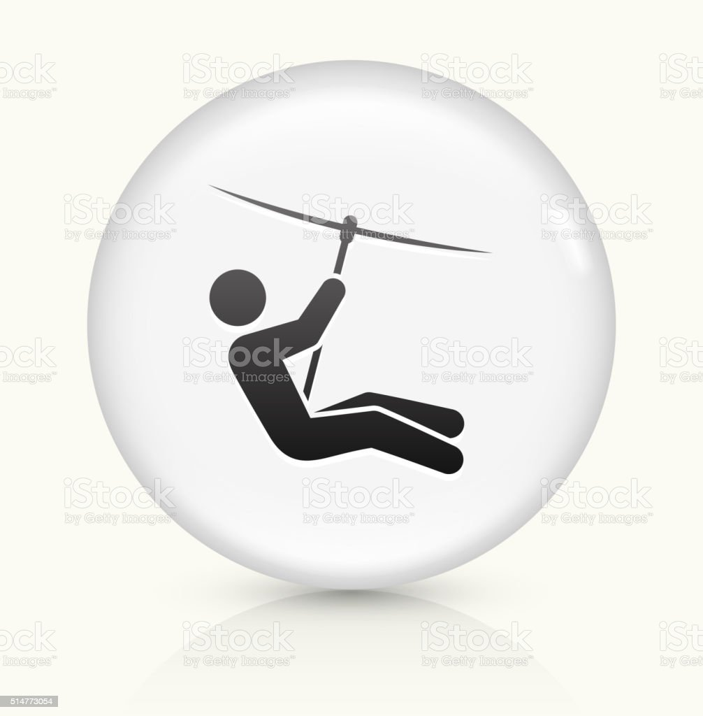 Zip Lining icon on white round vector button vector art illustration
