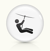 Zip Lining icon on white round vector button