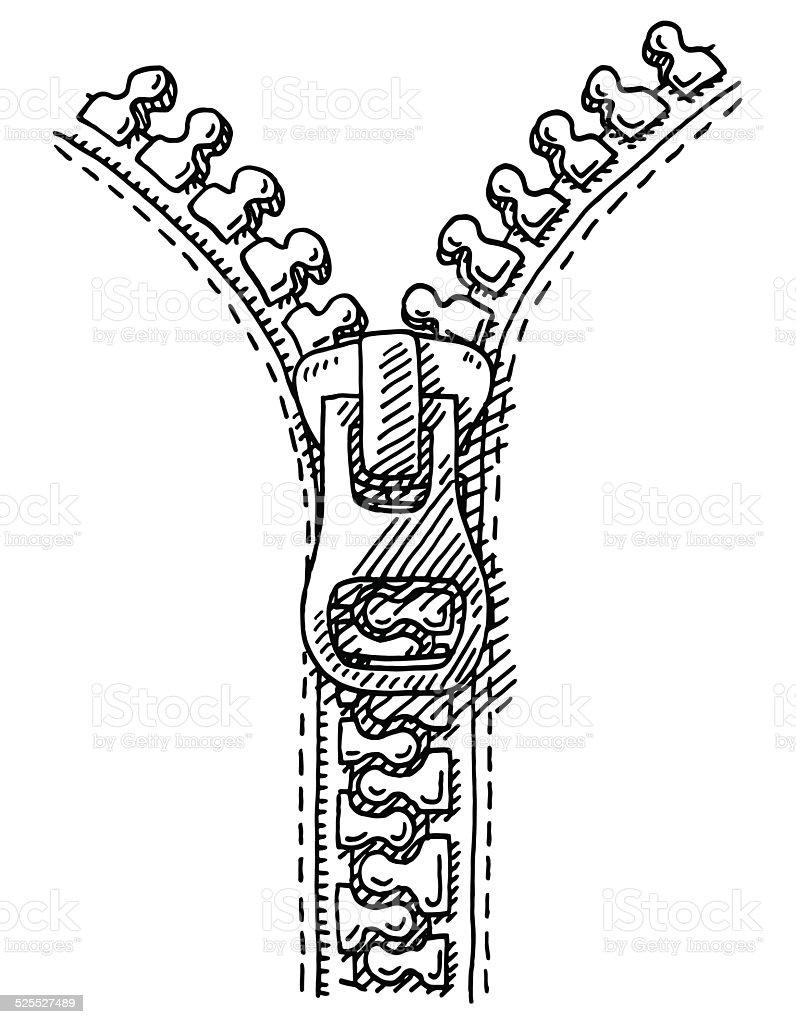 Zipper Drawing vector art illustration