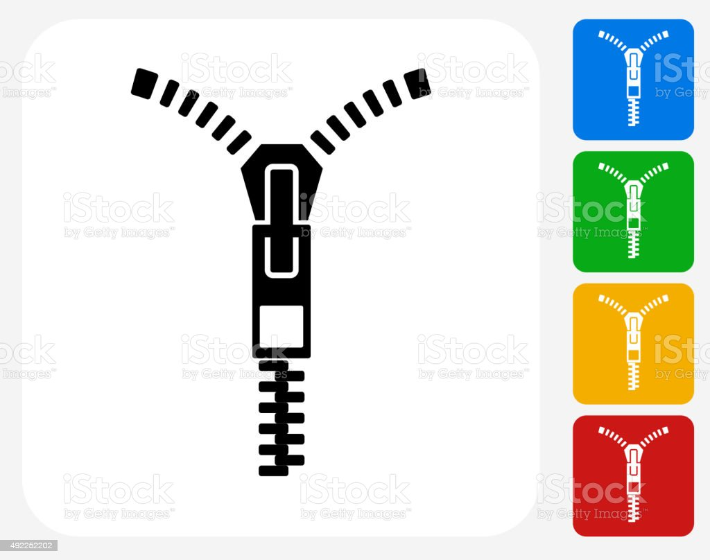 Zipper Icon Flat Graphic Design vector art illustration