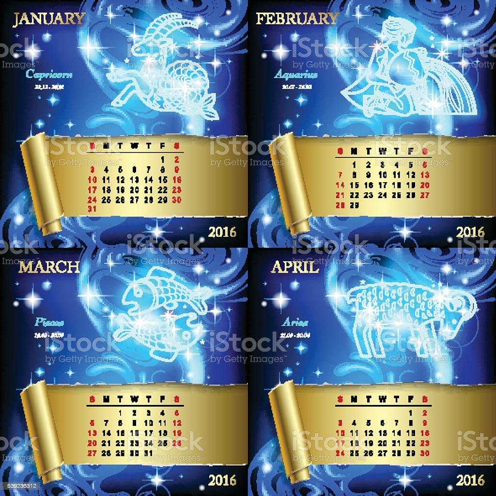 Zodiac Calendar pages vector art illustration