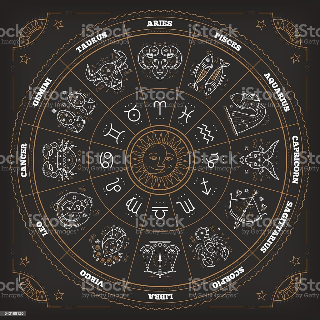 Zodiac circle with horoscope signs. Astrology symbols and mystic signs. vector art illustration