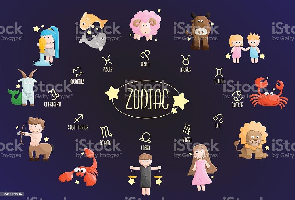 zodiac color sign symbol cartoon illustration vector art illustration