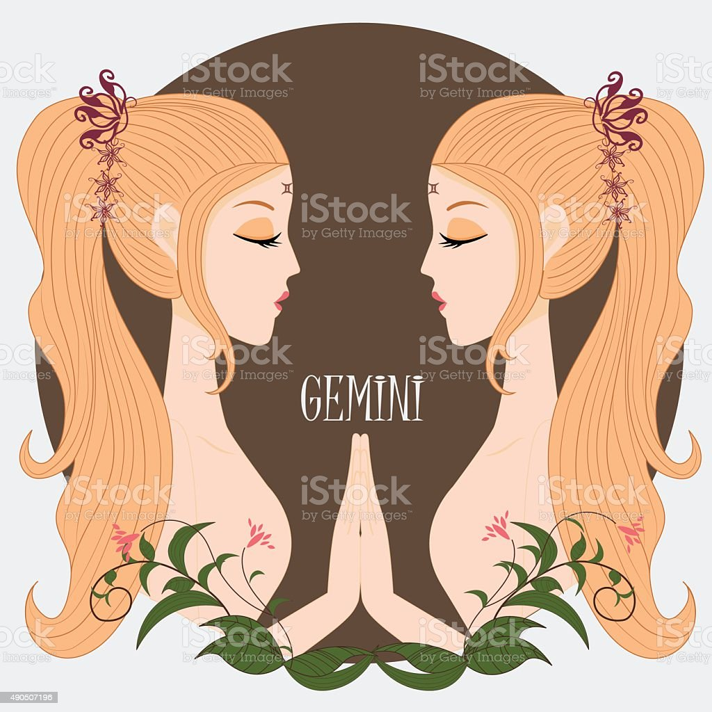 Zodiac girl Gemini vector art illustration