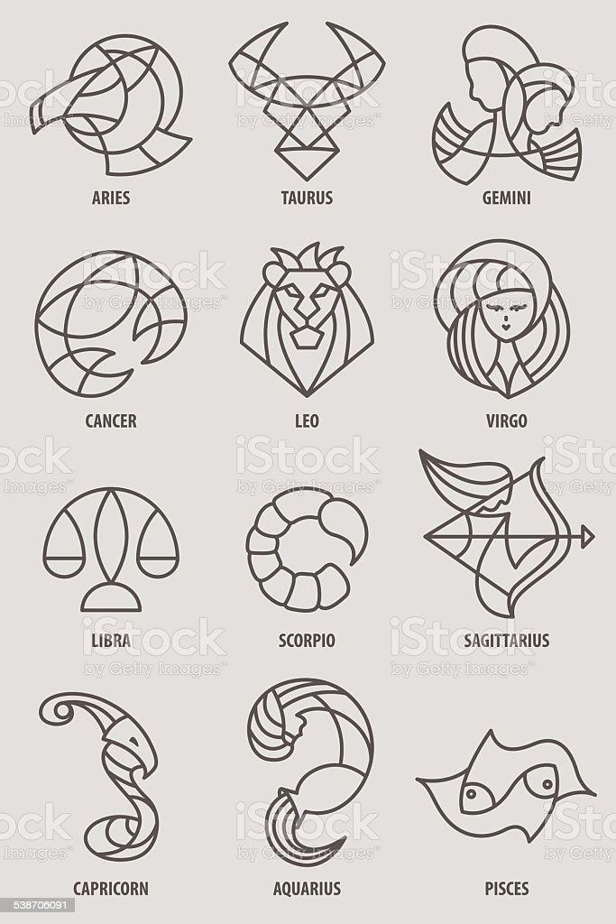 Zodiac icon series vector art illustration