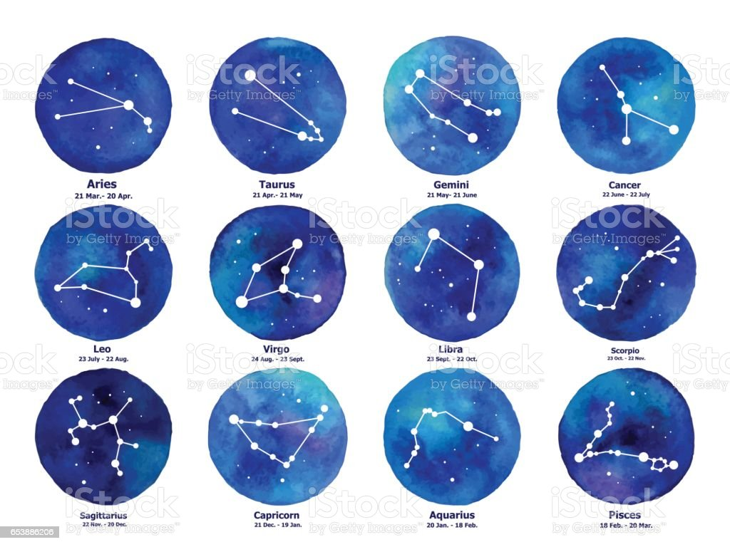 Zodiac icons. Freehand drawing. vector art illustration