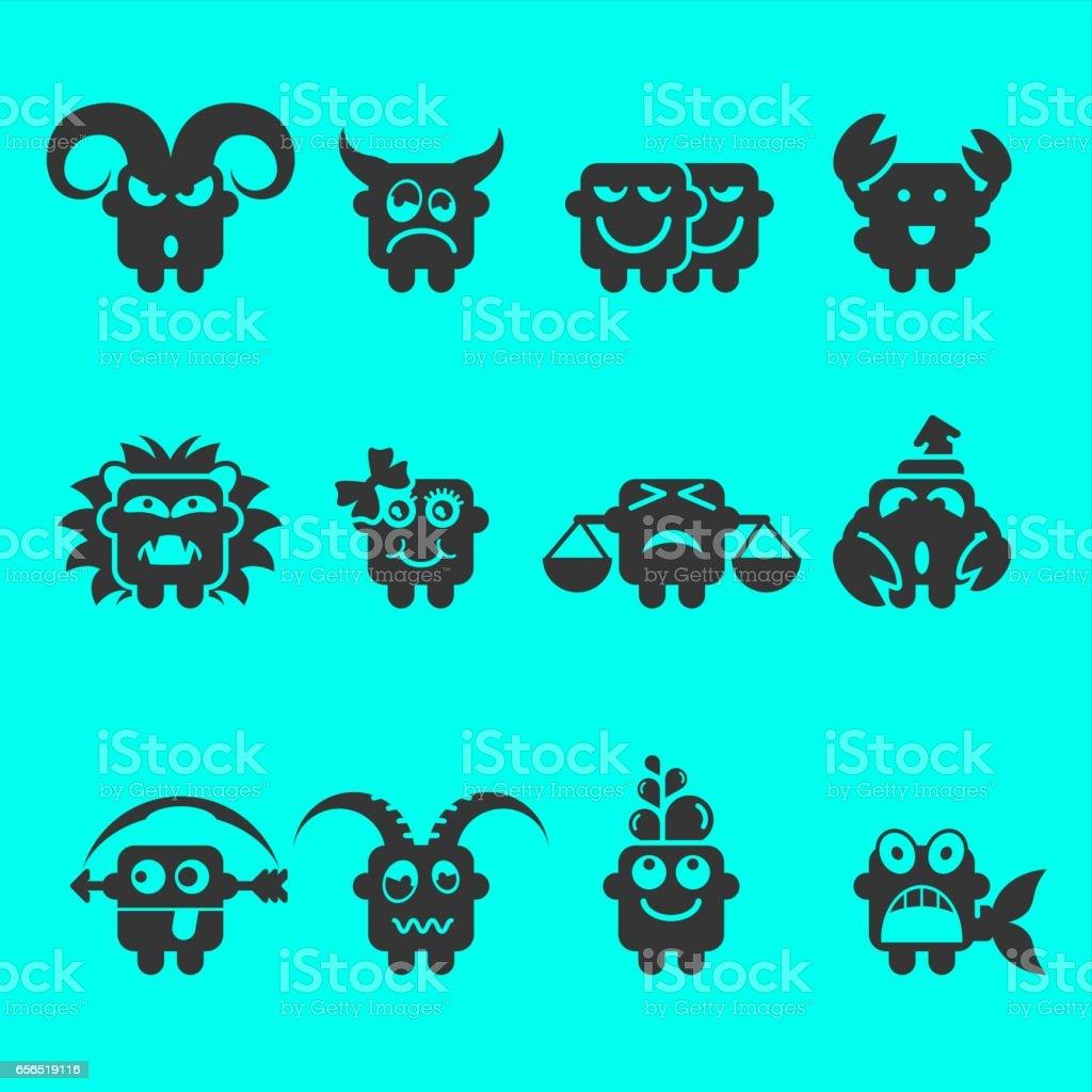 Zodiac Icons vector art illustration