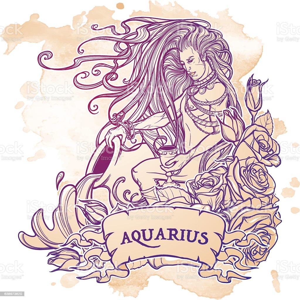 Zodiac sign Aquarius. Sketch on grunge background vector art illustration