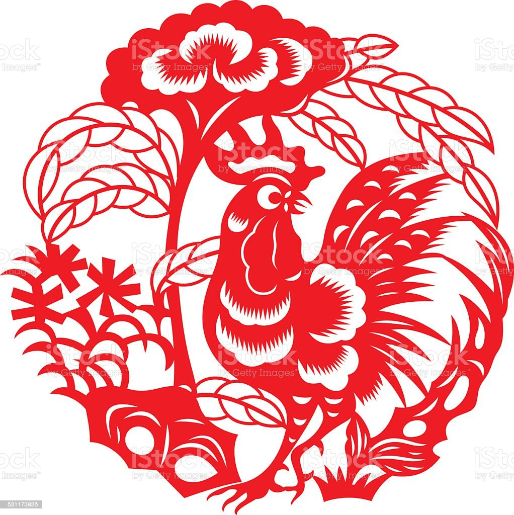 Zodiac Sign for Year of Rooster(Chinese traditional paper-cut art) vector art illustration