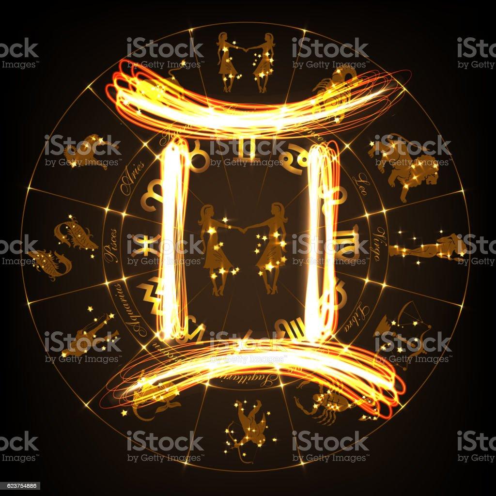 Zodiac sign Gemini vector art illustration