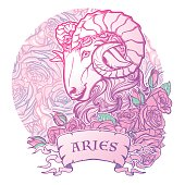 Zodiac sign of Aries. with a decorative frame roses Astrology