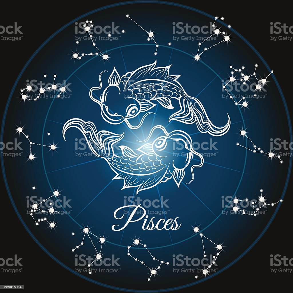 Zodiac sign pisces vector art illustration