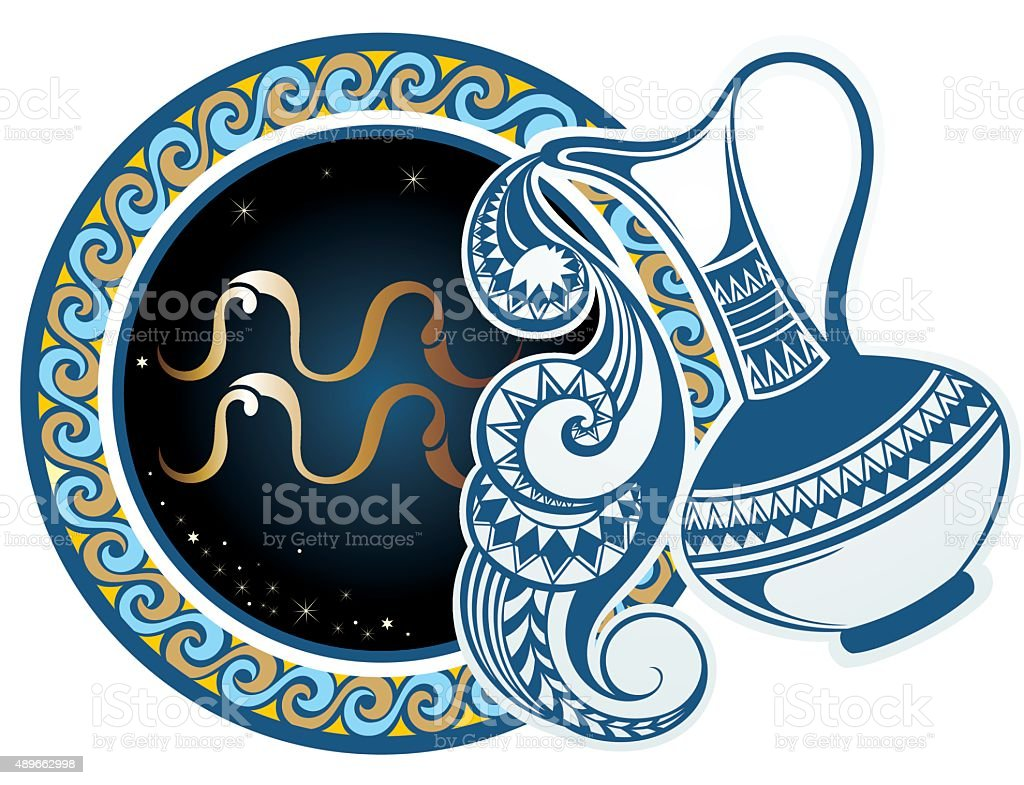 Zodiac signs - Aquarius vector art illustration