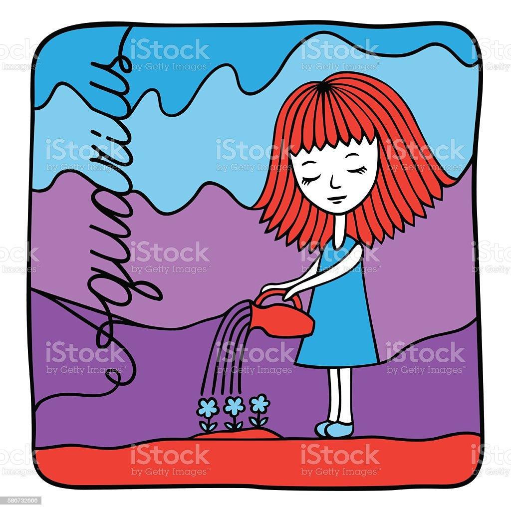 Zodiac signs Aquarius. Vector illustration of the girl. vector art illustration
