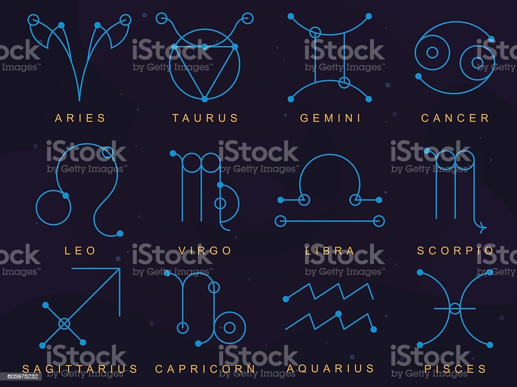 Zodiac Signs Made in Sacred Geometry Style vector art illustration