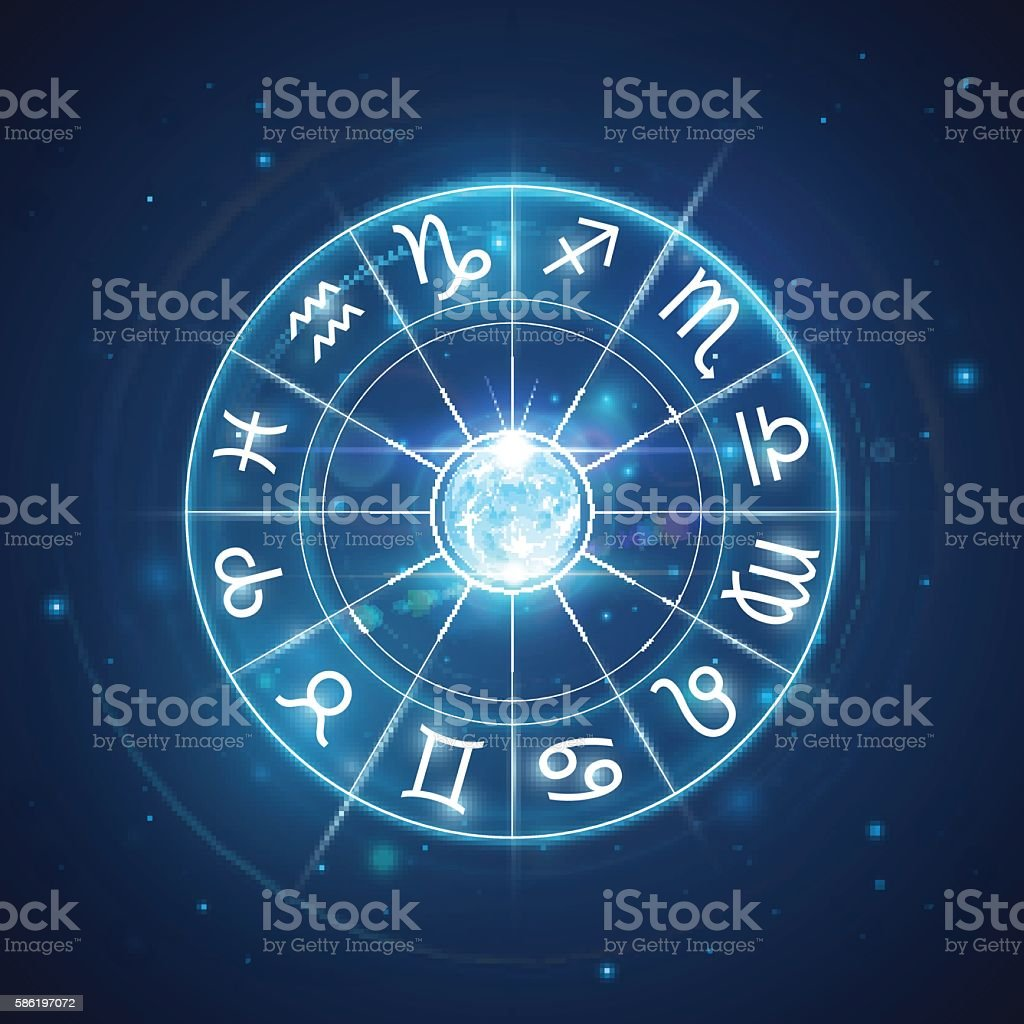 Zodiac signs with moon in center vector art illustration
