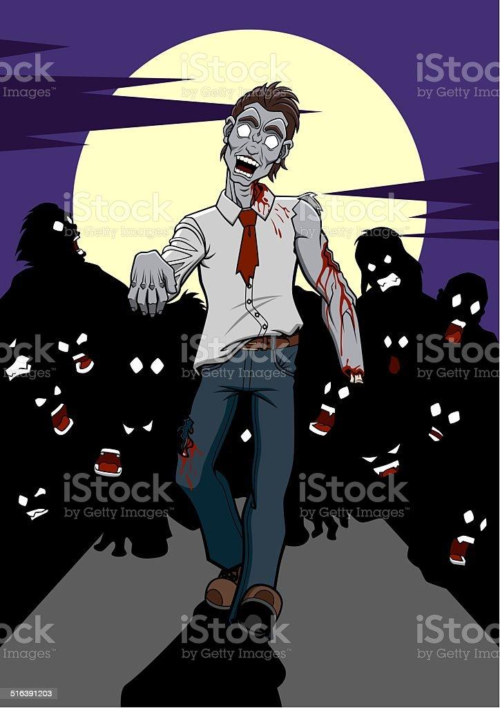 Zombie apocalypse vector art illustration