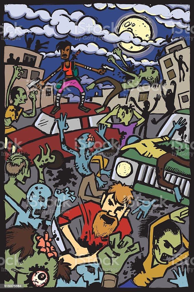 Zombie Attack! vector art illustration