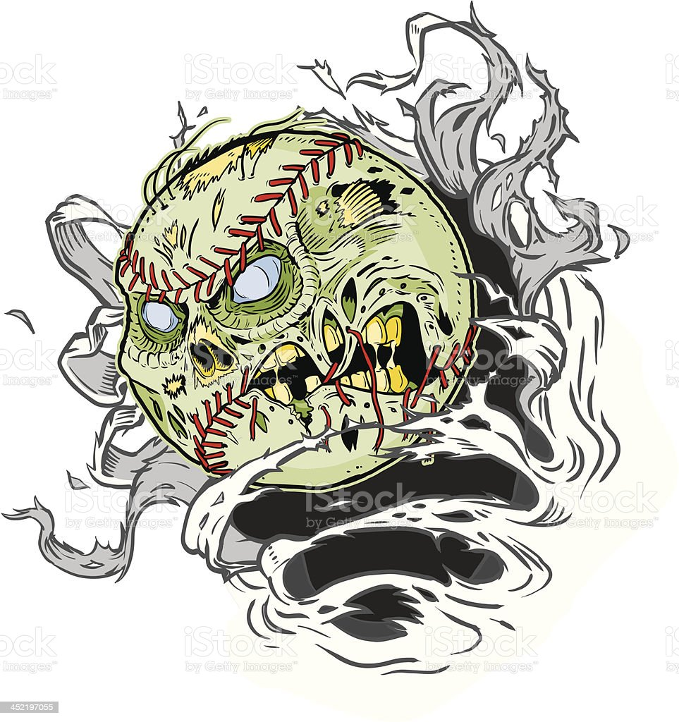 Zombie Baseball Ripping out of the Background royalty-free stock vector art