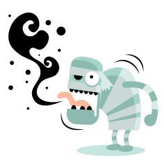Zombie (Monster, Devil, Ghost) burping, bad breath vector art illustration
