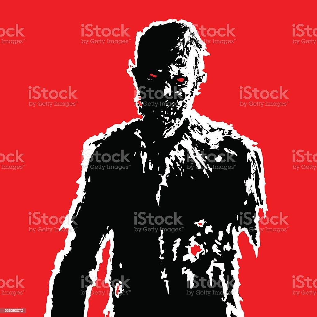 zombie businessman black white colors on red background vector illustration vector art illustration