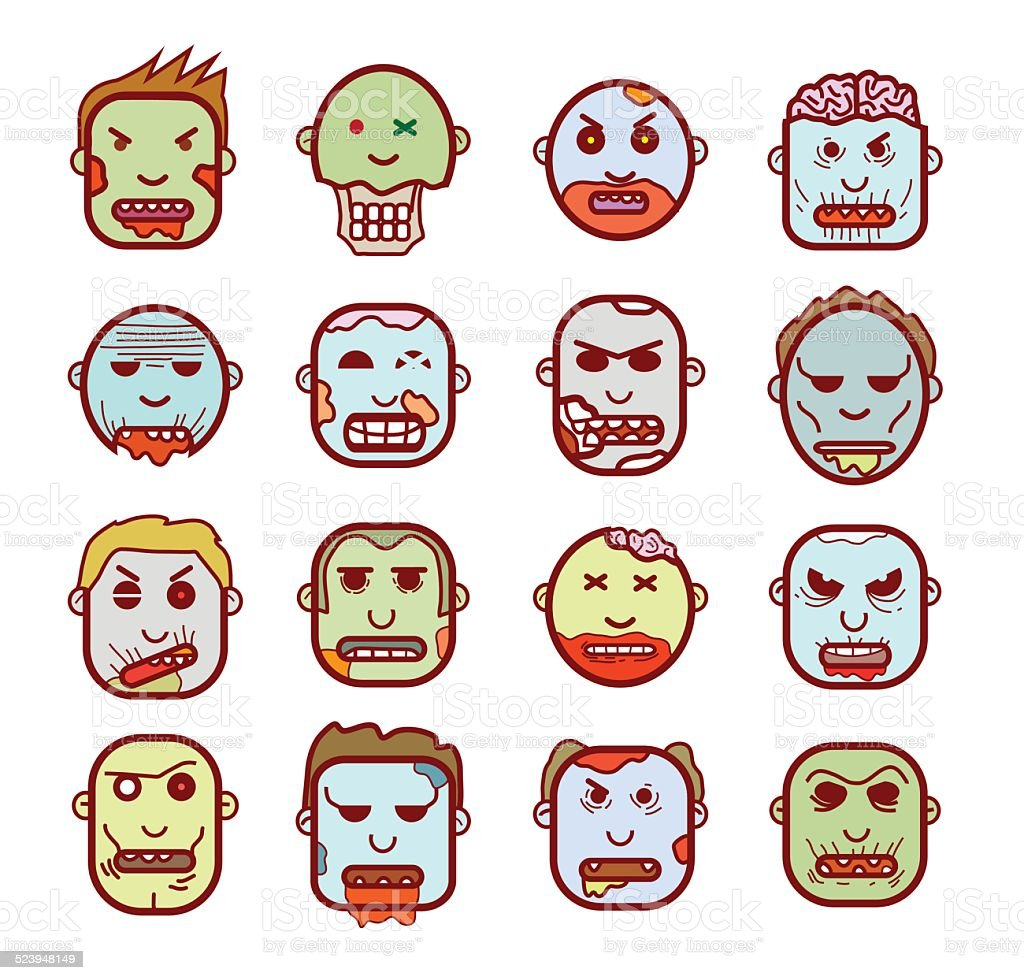 zombie cartoon character set, vector illustration. vector art illustration