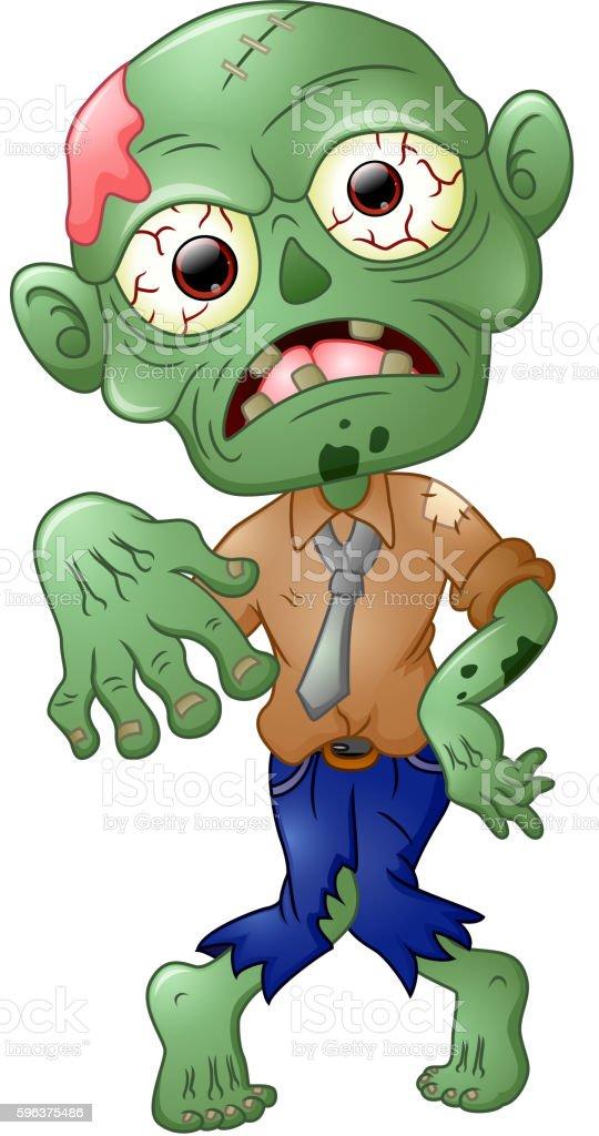 Zombie cartoon isolated on white background vector art illustration