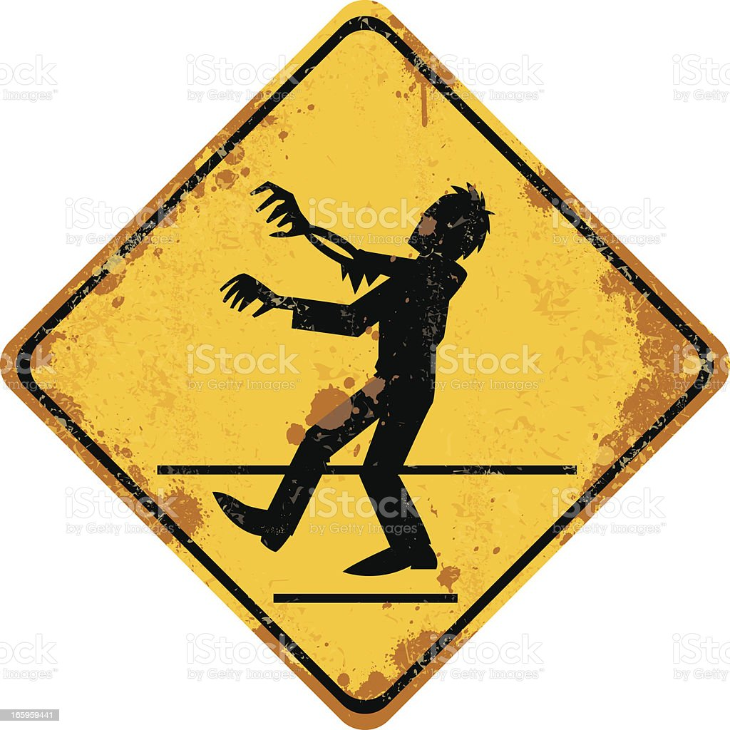 zombie crossing sign vector art illustration