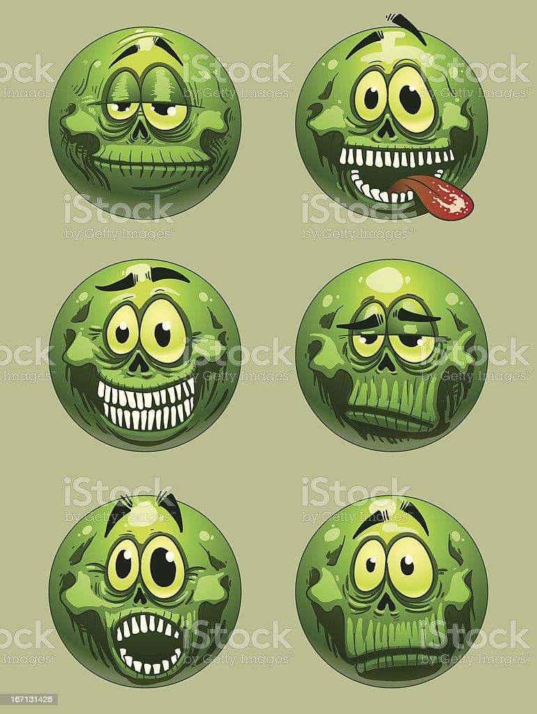 Zombie emoticon green color vector vector art illustration