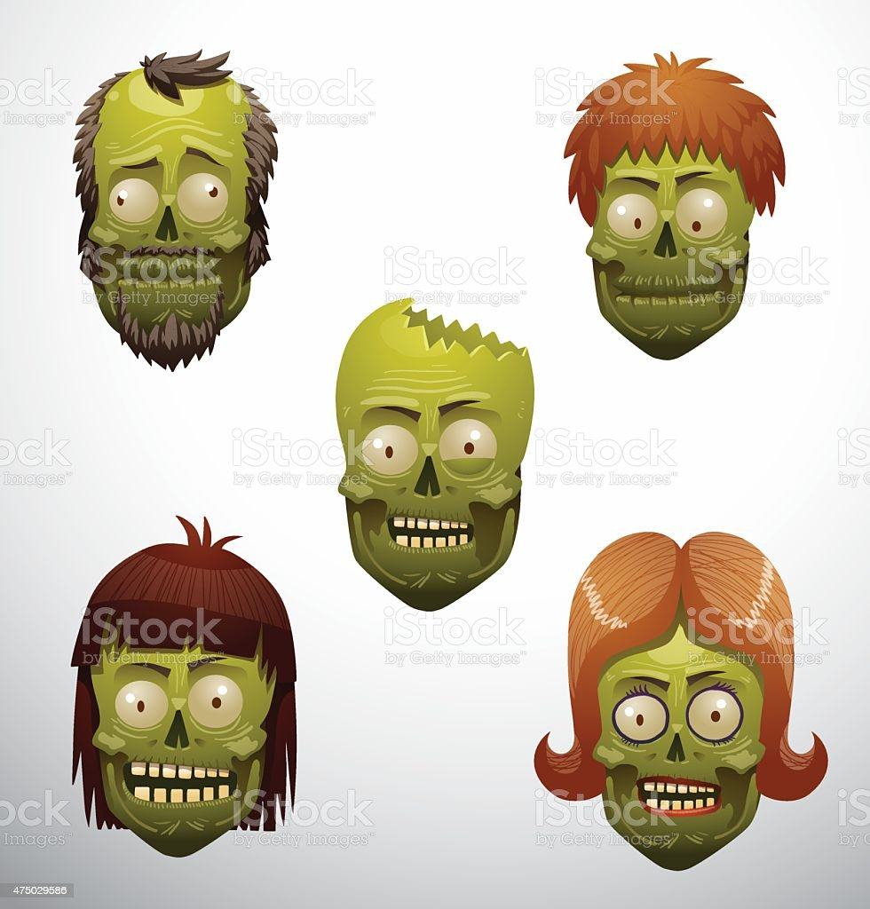 Zombie face set vector art illustration