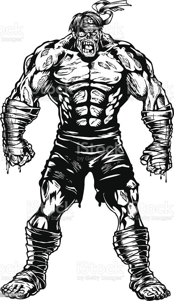 Zombie Fighter vector art illustration