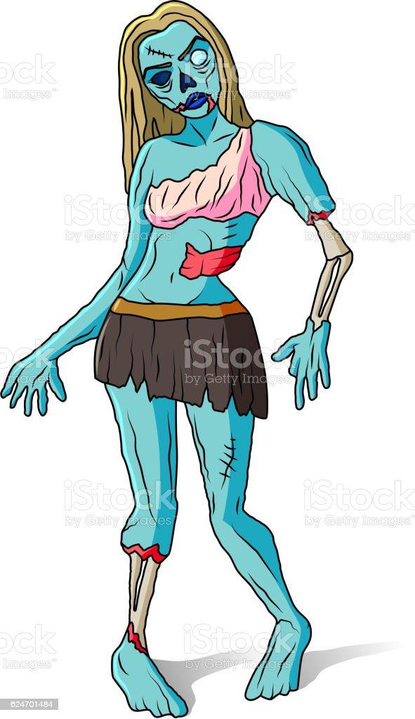 Zombie girl colorful illustration vector art illustration